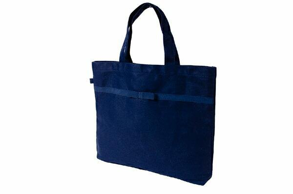 リボン付き 紺色布製レッスンバッグ【中】【お受験バッグのエレガンテ・ポポ】【あす楽対応商品】【送料無料】