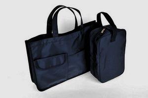 【2点セット】紺色ナイロン製レッスンバッグ&シューズバッグ【お受験バッグのエレガンテ・ポポ】【あす楽対応商品】【送料無料】