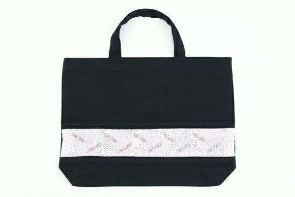 スモッキング手刺繍レッスンバッグ 3連ローズ【お受験バッグの●エレガンテ・ポポ】【あす楽対応商品】【送料無料】