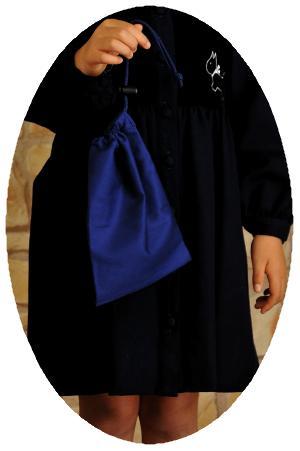 紺色無地巾着袋【小】布製コップ入れに【お受験バッグの●エレガンテ・ポポ】