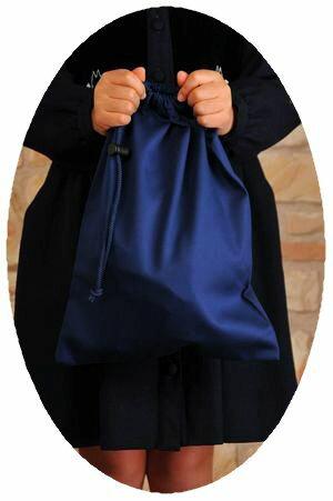 紺色無地お着替え入れ巾着袋【中】布製体操服入れ【お受験バッグの●エレガンテ・ポポ】