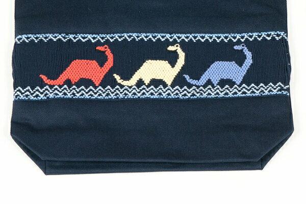 【手刺繍スモッキング】【恐竜】紺色布製 :巾着バッグ【シューズケースやお着替え入れに人気!】【お受験バッグの●エレガンテ・ポポ】