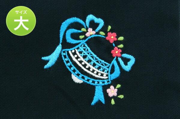 手刺繍【ベル】巾着バッグ(大)・お着替え入れ・入園入学お受験にお受験バッグのエレガンテ・ポポ