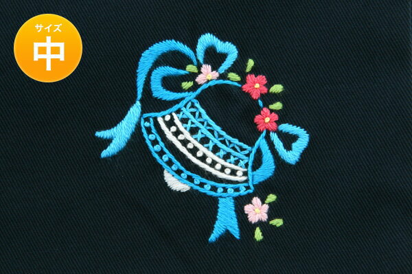 手刺繍【ベル】巾着バッグ(中)・お着替え入れ・入園入学お受験にお受験バッグのエレガンテ・ポポ