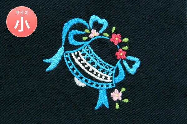 手刺繍【ベル】巾着バッグ(小)・コップ入れ・入園入学お受験にお受験バッグのエレガンテ・ポポ