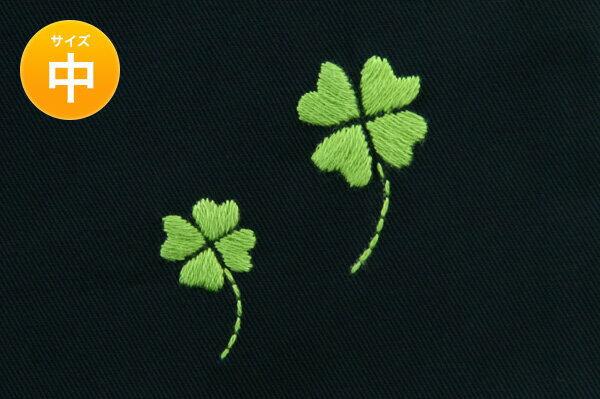 手刺繍【クローバー】巾着バッグ(中)・お着替え入れ・入園入学お受験にお受験バッグのエレガンテ・ポポ