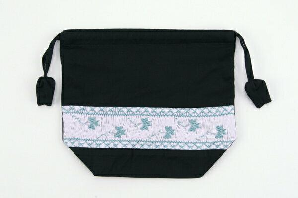 スモッキング手刺繍弁当袋 クローバー【お受験バッグの●エレガンテ・ポポ】