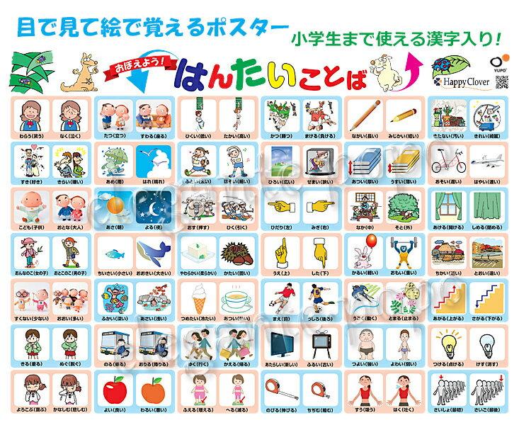 はんたい ことば ポスター 目で見て絵で覚える、小学生まで使える漢字入り反対言葉 知育教材 ポスター 八つ折り発送【あす楽】【送料無料】