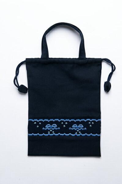 【手刺繍スモッキング】【リボン柄・ブルーA】紺色布製 :巾着バッグ【シューズケースやお着替え入れに人気!】【お受験バッグの●エレガンテ・ポポ】