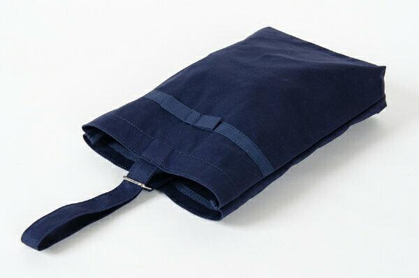 【人気商品】リボン付き 紺色布製 :シューズバッグお子様用キッズ【お受験バッグのエレガンテ・ポポ】