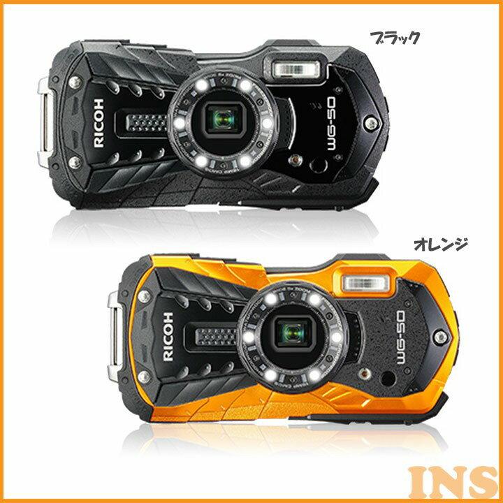 防水カメラ WG50BK 送料無料 デジタルカメラ カメラ 写真 防水 リコー ブラック・オレンジ【D】