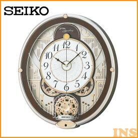 電波からくり時計 RE577B 送料無料 SEIKO 掛け時計 壁掛け からくり時計 電波時計 アナログ スイープ メロディ 音量調節 セイコークロック 【TC】