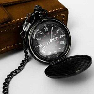 ローマ数字 シンプル 懐中時計 チェーン付き クォーツ アナログ時計 ブラック 新品 送料無料