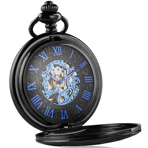 送料無料 新品●手巻き式 ブルーダイヤル 懐中時計 クォーツ アナログ時計●ローマ数字 手巻き懐中時計
