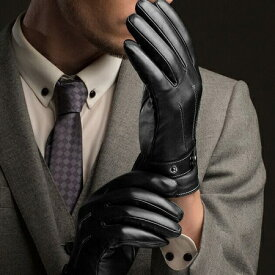 PUレザー 手袋 合皮レザー グローブ ブラック 運転 スマホ操作 メンズ手袋 新品 送料無料