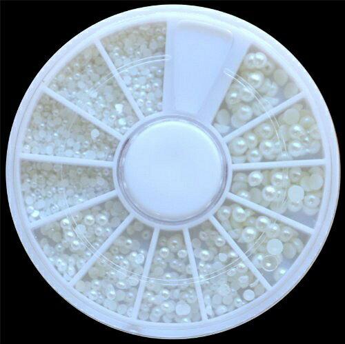 新品 送料無料●3D ホワイト ネイルアート デコレーション ネイルパーツ デコネイル用●3D ラインストーン ネイリスト セルフネイル アート 可愛い ホワイトパール