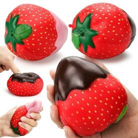 スクイーズ チョコイチゴ 茶 ピンク 低反発 ぬいぐるみ おもちゃ ストロベリーチョコレート フルーツ かわいい 握る ストレス解消 もちもち いちご 新品 送料無料