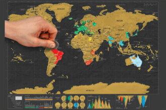 沒有新貨箱子,情况的★削,供記得的世界地圖智育玩具英語智育玩具世界刮地圖★世界地圖地理禮物祝賀小孩使用的彩色選擇