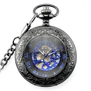 手巻き式 ブルーダイヤル 蓋を開けずに時間確認 懐中時計 アナログ時計 ローマ数字 手巻き懐中時計 新品 送料無料