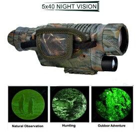 赤外線 ダーク ナイトビジョン 5X40 IR単眼望遠鏡 暗視スコープ 暗視ゴーグル 迷彩柄 サバゲー 8G マイクロSDカード内蔵 新品 送料無料