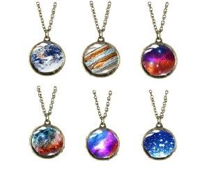 ネックレス 地球 銀河 宇宙 星 太陽系 ガラス玉 ペンダント チェーン付き 新品 送料無料