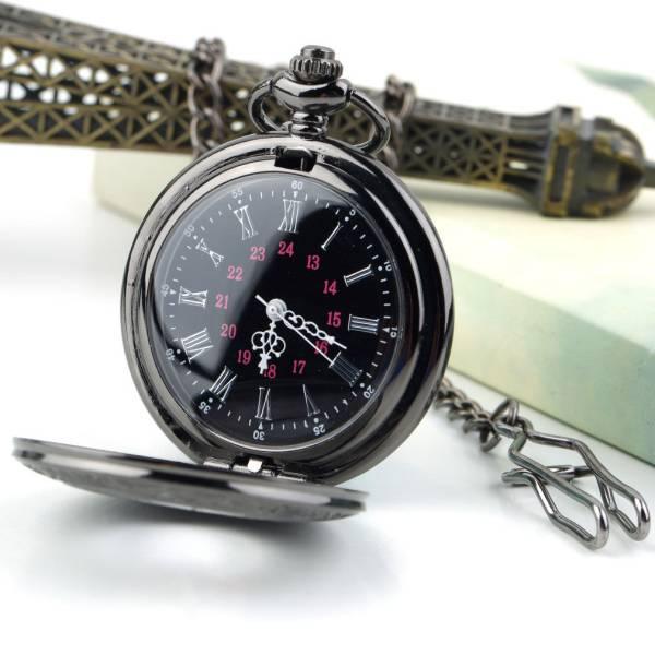 送料無料 新品●懐中時計 クォーツ アナログ時計 ブラック●ローマ数字