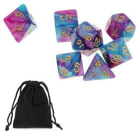 サイコロ 多面体 7種類セットのダイス 鮮やか色調 ブルー&パープル 袋ケース付き セット イベント ギフト パーティー すごろく RPG ゲーム 【送料無料】 新品