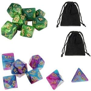 サイコロ 多面体 7種類セットのダイス 鮮やか色調 ブルー&パープル ダークグリーン&ライトグリーン 袋ケース付き おまとめ 14個 セット イベント ギフト パーティー すごろく RPG ゲーム 【