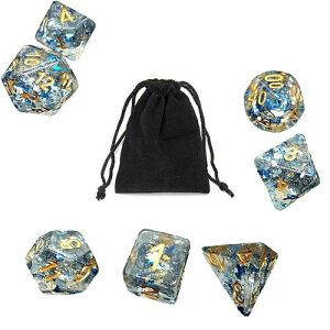 サイコロ 多面体 レア色 クリスタルメーシー ワンダーブルー カラフル ダイス 7個 袋ケース付き セット パーティーギフト ゲーム すごろく RPG ボードゲーム 鮮やか 彩り 色とりどり 銀河 ギ