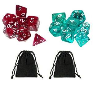 サイコロ 多面体 7種類のダイス 透明 ワインレッド マリンブルー 計14個セット 袋ケース×2枚付き イベント おまとめ お洒落 綺麗 ギフト パーティー セット 彩り すごろく RPG ゲーム 【送料無