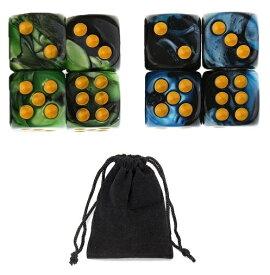 サイコロ 6面体 ダイス 点タイプ 鮮やか色調 ブルー&ブラック グリーン&ブラック 袋ケース付き 計8個セット イベント ギフト パーティー 彩り お洒落 軽量 ボードゲーム 賽 おまとめ すごろく RPG ゲーム 【送料無料】 新品