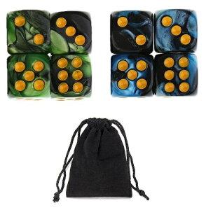 サイコロ 6面体 ダイス 点タイプ 鮮やか色調 ブルー&ブラック グリーン&ブラック 袋ケース付き 計8個セット イベント ギフト パーティー 彩り お洒落 軽量 ボードゲーム 賽 おまとめ すご