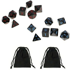サイコロ 多面体 7種類のダイス レッド&ブラック ブルー&ブラック 計14個セット 袋ケース×2枚付き セット パーティー おまとめ ベーシック オーソドックス イベント ギフト カラフル すご
