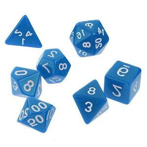 サイコロ 多面体 7種類のダイス ベーシック グロスカラー ブルー 袋ケース付き イベント おまとめ お洒落 綺麗 ギフト パーティー 青 セット 色艶 彩り ナチュラル すごろく RPG ゲーム 【送料