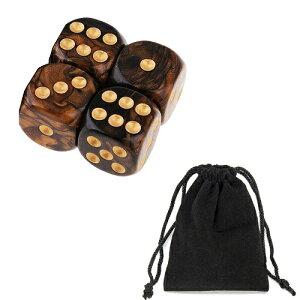 サイコロ 6面体 ダイス 点タイプ 鮮やか色調 ブラウン&ブラック 袋ケース付き お手軽 計4個セット イベント ギフト パーティー 彩り お洒落 軽量 ボードゲーム 賽 おまとめ すごろく RPG ゲー