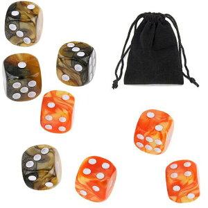 サイコロ 6面体 ダイス 点タイプ 鮮やか色調 ライトブラウン&ダークブラウン オレンジ&イエロー 袋ケース付き 計8個セット イベント ギフト パーティー 彩り お洒落 軽量 ボードゲーム 賽