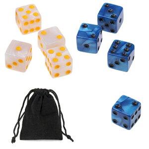 サイコロ 6面体 ダイス 点タイプ 鮮やか色調 ホワイト&シルバー ブルー&シルバー 2種類 袋ケース付き 計8個セット イベント ギフト パーティー 彩り お洒落 軽量 ボードゲーム 賽 おまとめ