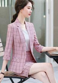 レディース セットアップ スーツ 7分袖 ジャケット シングル ショートパンツ 格子柄 春夏 カジュアル 爽やか 大人可愛い キレカジ ビジネス オフィス お出かけ デイリー ピンク ホワイト ブルー S M L XL 2XL 3XL 4XL 5XL 送料無料