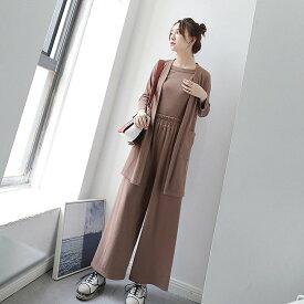 レディース 韓国ファッション セットアップ 3点セット ロングジャケット ワイドパンツ キャミソール ロングスリーブ 普段着 部屋着 オフコーデ OFF 大人かわいい フォーマル グレー ブラウン Fサイズ
