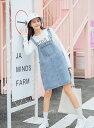 レディース 韓国ファッション サロペット ジャンスカ ジャンパースカート 膝上丈 普段着 学生 女の子 ミニスカート オフコーデ 元気コーデ オールシーズン ラフスタイル ブルー S M L XL