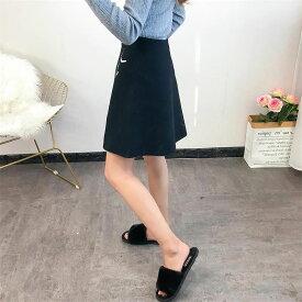 レディース 韓国ファッション ボトムス スカート 膝上 刺繍 普段着 フォーマル 台形スカート オフコーデ 冬 温かい ミニスカート ブラック Fサイズ