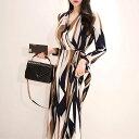 レディース 韓国ファッション ワンピース Vネック ミモレ丈 長袖 フレア 大人女子 オフコーデ ビジネス かっこいい ブラウン 茶色 S M L XL サイズ