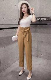 レディース 韓国ファッション ボトムス アンクル丈 ワイドレッグパンツ テーパード 無地 大人可愛い キレイ目コーデ ビジネス オフィス デート ブラック ベージュ S M L XL