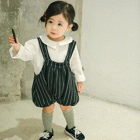 キッズ サロペット パンツ ギンガムチェック ドット 水玉 ストライプ ボトムス 女の子 子供 ジュニア 子供服 かわいい レトロ ブラック 黒 66 73 80 90 cm サイズ