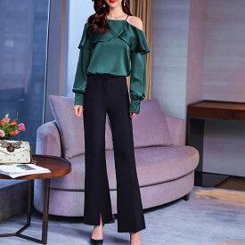 レディース 韓国ファッション 上下セット オフショルダー ブラウス ブーツカットパンツ フレアパンツ ベルボトム セットアップ エレガント 大人女子 キレイ目コーデ 上品 グリーン×ブラック 緑×黒 ビックサイズ