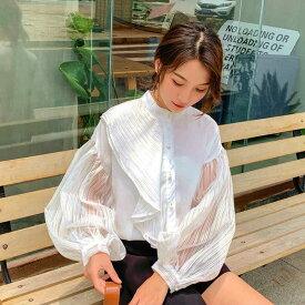 レディース 韓国ファッション ブラウス スタンドカラー パフスリーブ 透け素材 フリル 長袖 トップス オフコーデ OFF 大人可愛い上品 オフィス ホワイト 白 S M L XL 2XL ビックサイズ