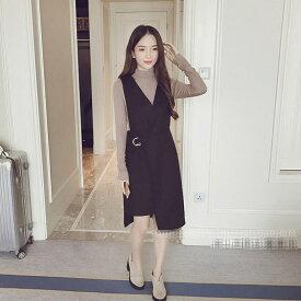 レディース 韓国ファッション 2点セット ハイネック カットソー サロペット ジャンパースカート オフコーデ OFF 大人可愛い 学生 ビジネス オフィス ブラウン ブラック 茶 黒 S M L XL サイズ