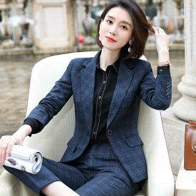 レディース 韓国ファッション 5点セット スーツ ジャケット ブラウス ベスト パンツ スカート 上品 オフィス ビジネス ネイビー 紺 ビックサイズ