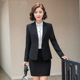 レディース 韓国ファッション 3点セット ジャケット + ブラウス + パンツ or ミニスカート ビジネス 大人女子 キレイ目コーデ オフィス ブラック ネイビー ビックサイズ