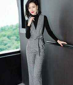 レディース 韓国ファッション セットアップ 長袖 カットソー 無地 ベスト ロングパンツ チェック クール 大人女子 ビジネス オフィス デート グレー S M L XL